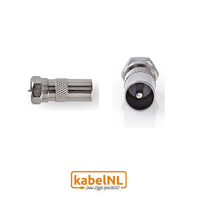 Verloop F connector naar IEC Male