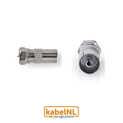Verloop F connector naar IEC Female