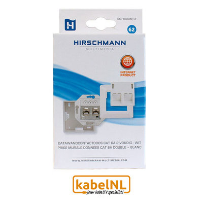Hirschmann wandcontactdoos internet 2xRJ45 Cat6A Wit
