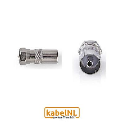 Verloop F connector naar IEC Female