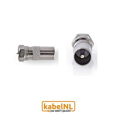 Verloop F connector naar IEC Male