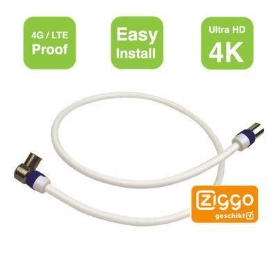 Aansluitkabel TV versterker | modem Ziggo gecertificeerd 0.5m 4G