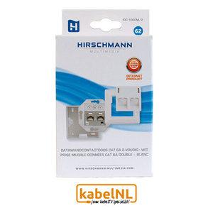 Hirschmann wandcontactdoos internet dubbel Cat6A Wit