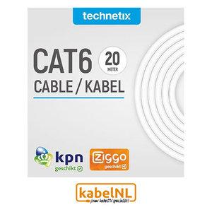 Technetix Cat6 UTP netwerkkabel 20 meter voor KPN en Ziggo