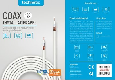 Technetix coax kabel Ziggo 100m